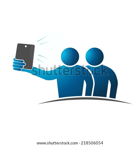 Two people Selfie. Concept of taking a self portrait with smart phone. Vector design