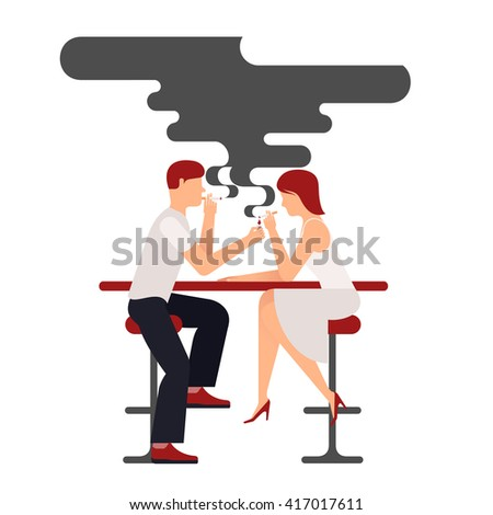two people smoking  vector