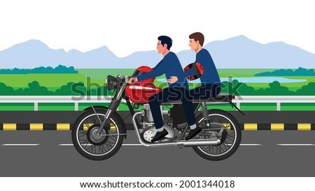 Two People without helmet riding motor bike indian motor bike