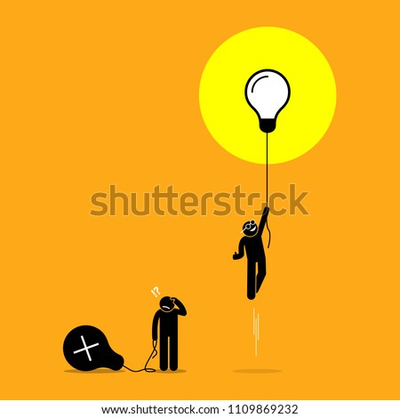 Two person created different ideas but only one is having success, while the other fails. Vector artwork shows the concept of idea success and failure. ストックフォト ©