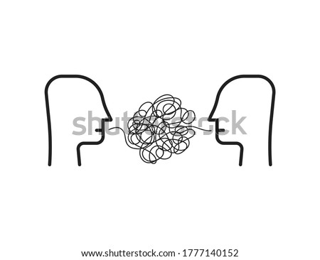 two person with difficult communion. concept of brawl and hard speaking by abuser and depression or stress or anxiety. outline simple trend modern graphic linear design isolated on white background Foto d'archivio ©