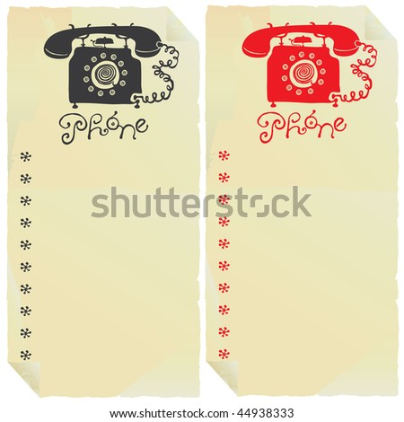 two phone signs on old paper labels