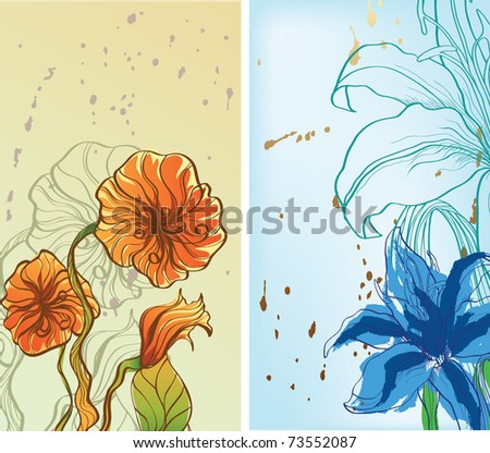 two pictures with flowers