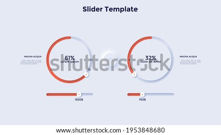 Two pie charts with sliders and percentage indication. Concept of calculation and comparison of profitability of 2 business projects. Neumorphic infographic design template. Vector illustration.