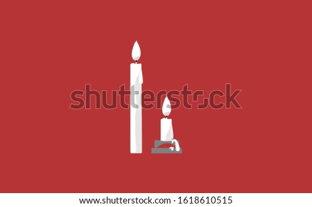 Two piece of candle vector in red background. This candle vector has melted wax candles. This candle consists of a candle stick, candles flame and candles holder. Flat Candles vector illustration.
