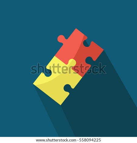 two pieces of puzzles on a Different colors Connected together on a dark blue background