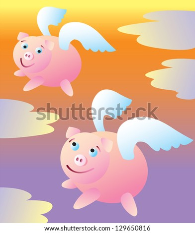 two pigs flying high into the
