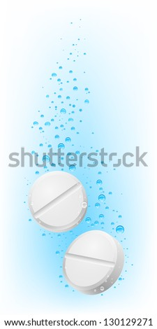 Two pills in water. Illustration on white  for creative design