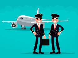 Two pilots on the background of the aircraft. Vector illustration of a flat design