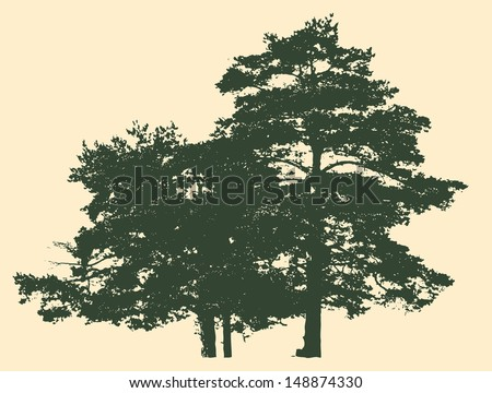 two pines silhouette detailed