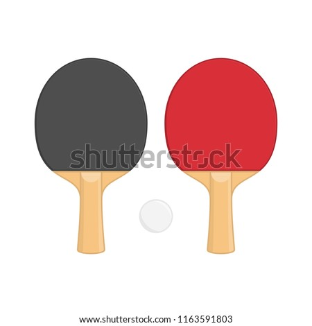 Two ping pong rackets with ball, in flat style. Racket for playing table tennis isolated on white background. Sports equipment concept. Vector illustration EPS 10.