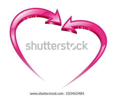 Two pink arrows create a heart shape. Vector illustration.