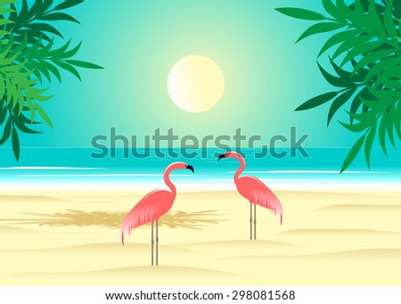 two pink flamingos on a beach