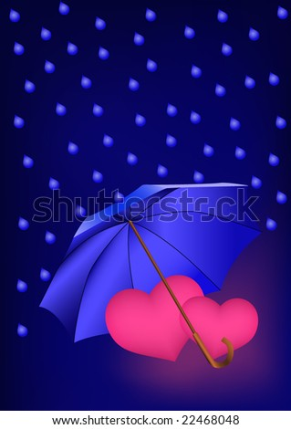 Two pink hearts under umbrella in the rain