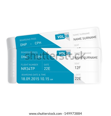 two plane tickets isolated on white background