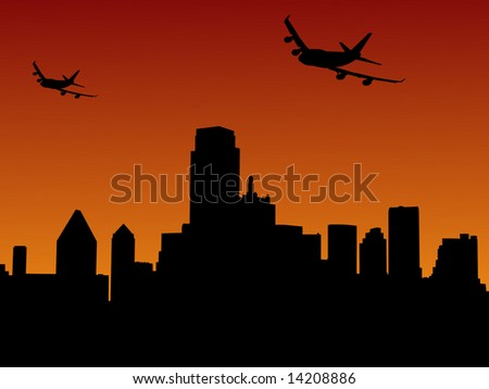 two planes arriving Dallas at sunset illustration