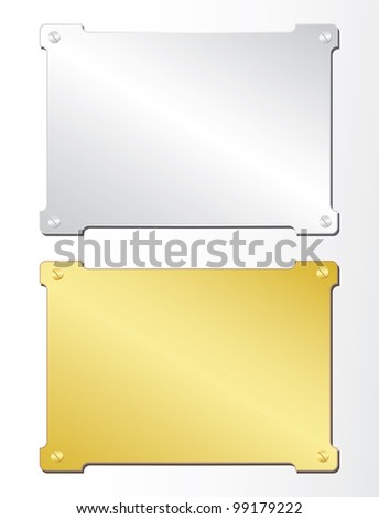 Two plates of gold and silver. Vector