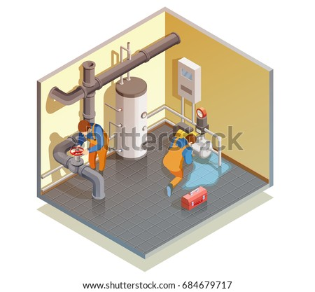two plumbers at work fixing
