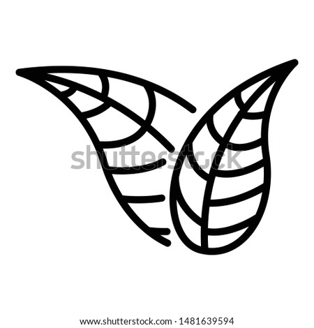 Two pointed leaves icon. Outline two pointed leavesTwo pointed leaves vector icon for web design isolated on white background