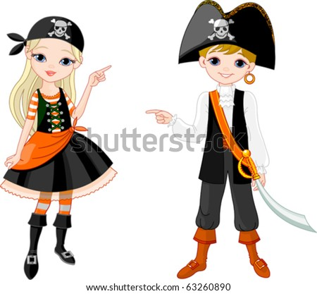 Two pointing  kids dressed as pirates for Halloween party