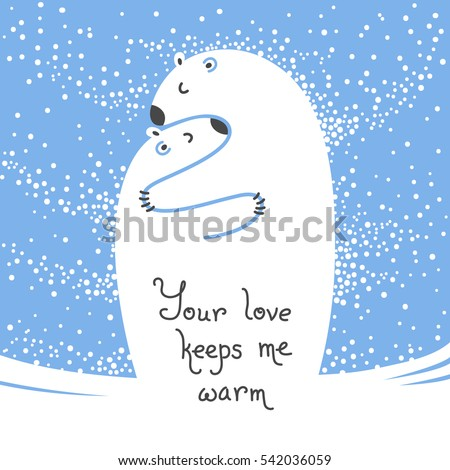 two polar bears hugging each