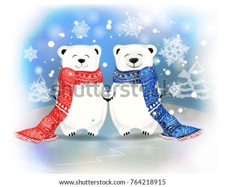 two polar bears on blue