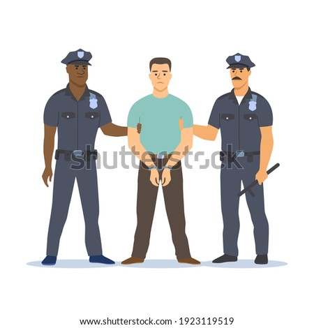 Two police officers of different skin colors arresting the criminal. They hold his hands, the criminal is handcuffed. Vector illustration. Foto stock ©
