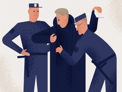Two policemen dressed in uniform holding search male suspect or criminal. Man inspected by pair of police officers. Legal procedure, law enforcement. Flat cartoon characters. Vector illustration.