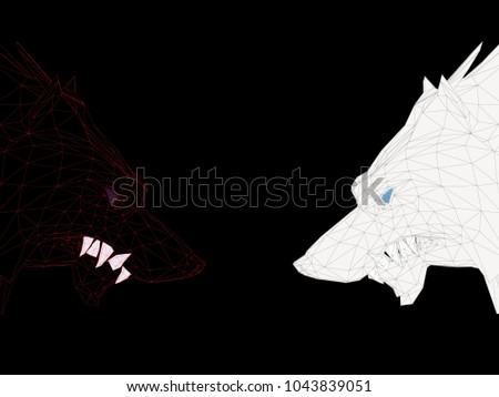 two polygonal wolves look at