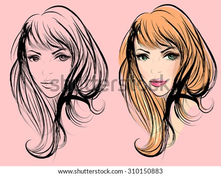 two portraits of a girl for