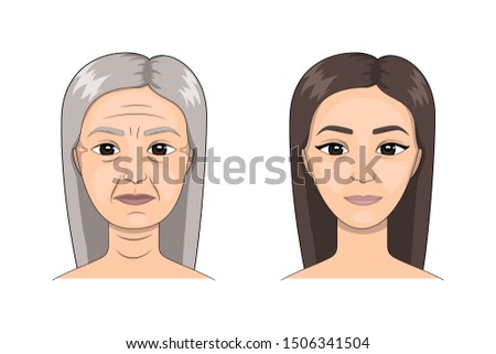 Two portraits of young and elderly woman. Comparison. Mother and daughter. Life aging, face of woman at different ages. Before and after concept. Process of aging and rejuvenation. Isolated vector