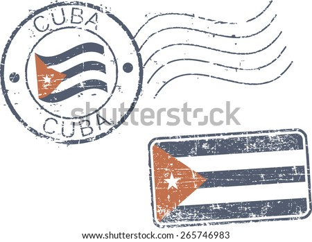 two postal grunge stamps 'cuba'