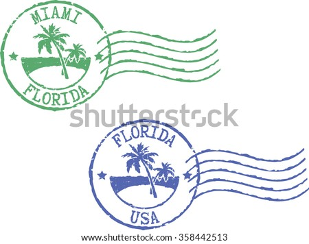 two postal grunge stamps 'miami