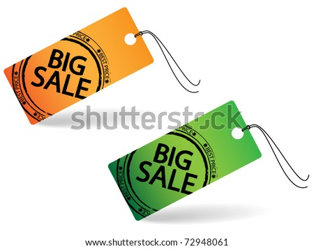 Two price tag with stamp - big sale
