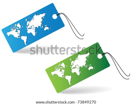 Two price tags with world map