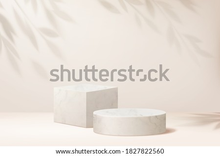 Two product display podiums with shadow of a plant in 3d illustration