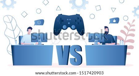 Two professional gamers and big game controller.Guys with headsets at the table at computer playing video games. Pro gamers male characters concept. E-sports team, group of gamers. Trendy vector