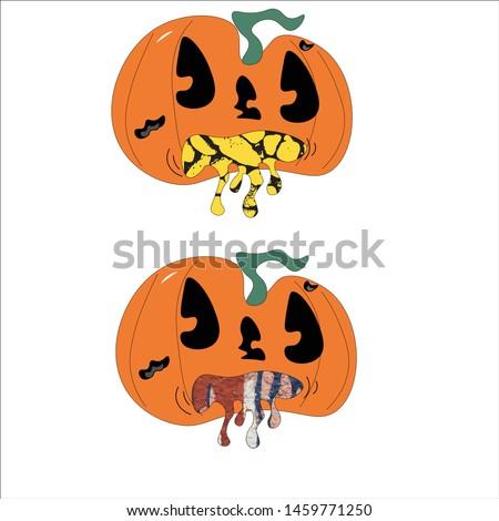 two puking pumpkins halloween