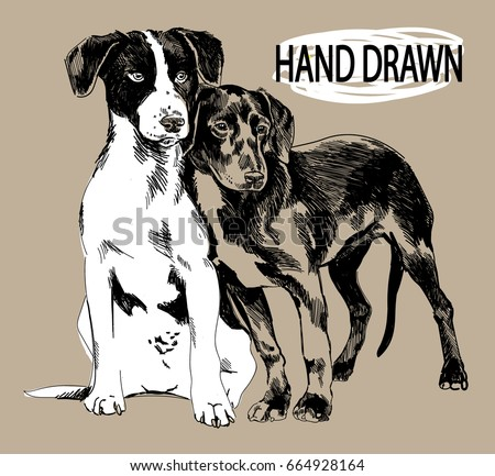 two puppies drawing by hand in