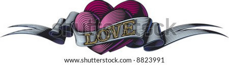 Two purple hearts are bound by the love ribbon. Valentine's day symbol. - stock vector