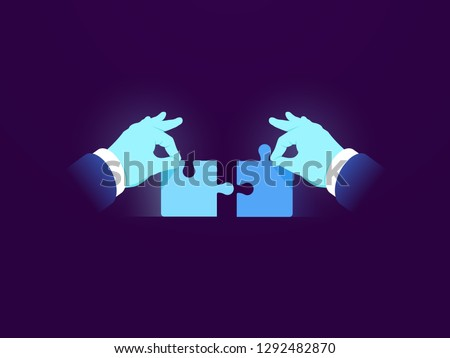 Two puzzle pieces, task solution business concept icon, two parts of one whole, elegant management, working together working together, hand holds a piece of the puzzle, flat vector dark neon