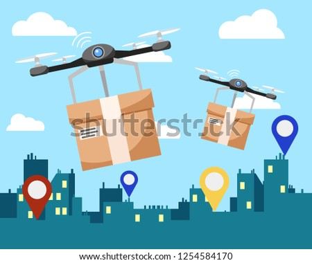 Two quadrocopters deliver boxes with parcels to the address. Stock fotó ©