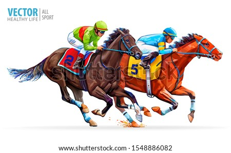 two racing horses competing