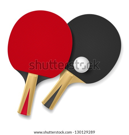 Two rackets for playing table tennis.  Illustration on white background
