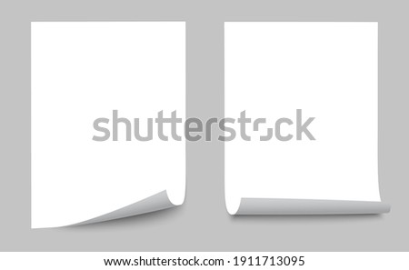 Two realistic empty white paper sheet, paper sheet curled corner of with shadow - stock vector