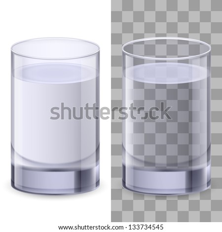 Two realistic glasses of water. Illustration on white background for creative design.