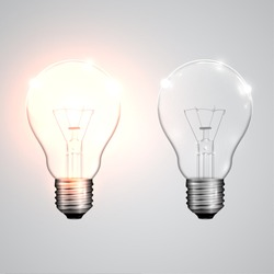 Two realistic lightbulb - on and off, vector