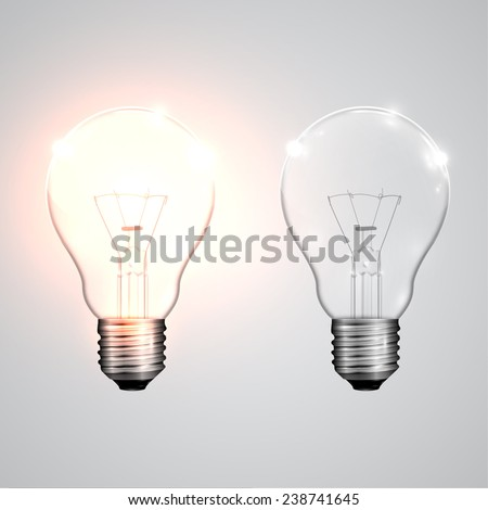 Two realistic lightbulb - on and off, vector Foto stock ©