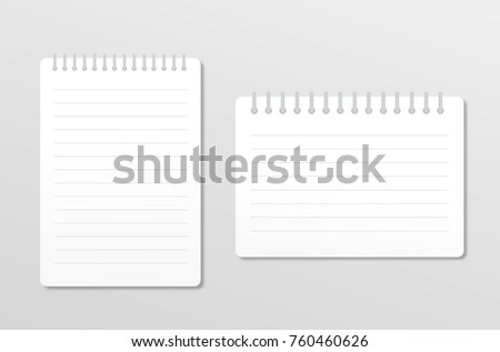 Two realistic notebooks isolated on white background