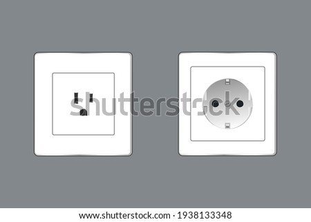 two realistic voltage outlets with different connection standards on grey wall. vector illustration  Сток-фото ©